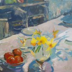 Evening still life with daffodils and clementines